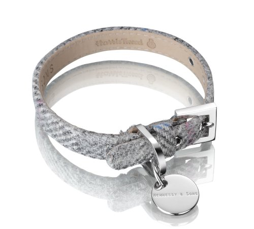 Hennessy Harris Tweed and Medium Leather Dog Collar, Silver Grey