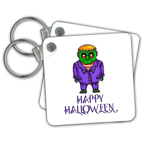 Alexis Design - Funny Characters - Green monster in a purple suit. A text Happy Halloween. Funny decor - Key Chains - set of 2 Key Chains (kc_295038_1)