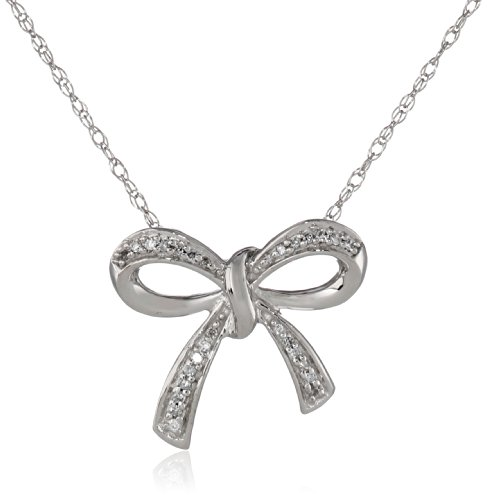 Diamond Bow Pendant Necklace (10K White Gold Diamond Bow Pendant Necklace, 18