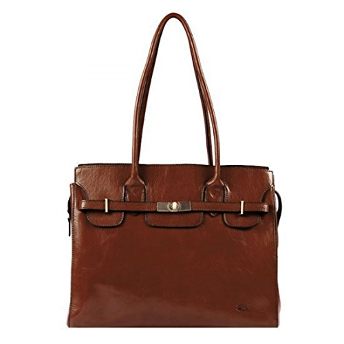 cuir K Vachette shopping Marron collet 82529 en Katana de Sac qt7pw7