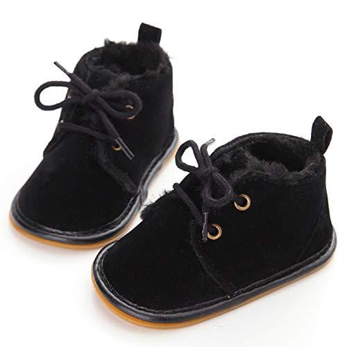 Fnnetiana Multicolor Unisex Baby Warm Non-Slip Soft Sole Boots Infant Prewalker Nursling Snow Shoes (6-12 Months, Black)