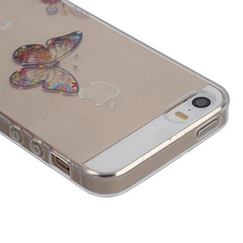 Funda para iPhone 6 6S, funda de silicona transparente para iPhone 6 6S, iPhone 6 6S Case Cover Skin Shell Carcasa Funda, Ukayfe caso de la cubierta de la caja protectora del caso de goma Ultra Delgad Due Farfalle