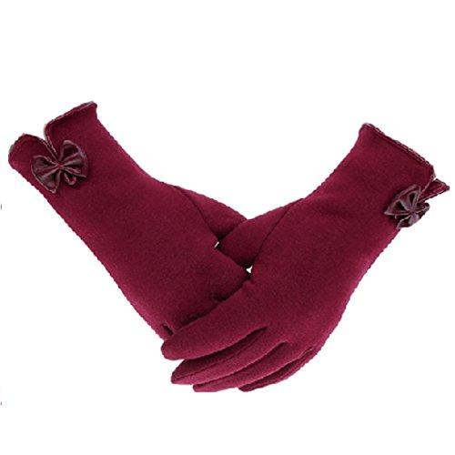 Women's Cashmere Touchscreen Warmer winter Gloves Cashmere Gloves (Red)