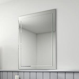 650 X 900 Mm Rectangular Bevelled Designer Bathroom Wall Mirror Mc147 Ibathuk