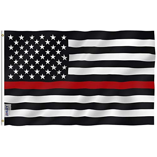 (Anley Fly Breeze 3x5 Foot Thin Red Line USA Polyester Flag - Vivid Color and UV Fade Resistant - Canvas Header and Double Stitched - American Honoring Firefighter Flags with Brass Grommets 3 X 5 Ft )