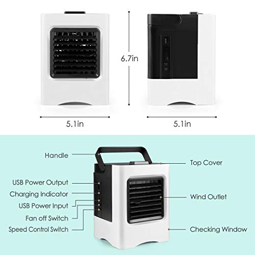 Personal Air Cooler, USB Air Conditioner Fan with 3-Speed, Mini Air Conditioner Desk Fan with Handle for Small Room/Office/Dorm/Bedroom
