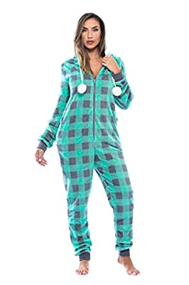 Just Love Buffalo Plaid Adult Onesie / Sherpa Lined Hoody / One Piece Pajamas