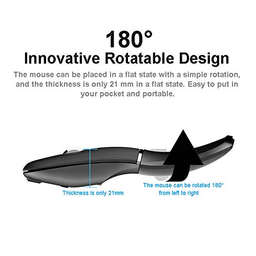 Rechargeable 2.4G Bluetooth Wireless Mouse, Wireless Computer Mouse with USB Receiver Cool Wireless Mouse Foldable Slim and Silent for Laptop,Computer,PC,MacBook (Black)