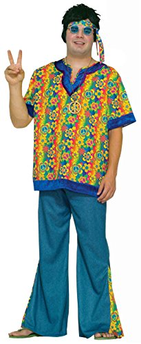 Forum Novelties Men's Hippie Dude Costume, Multi, Plus Size