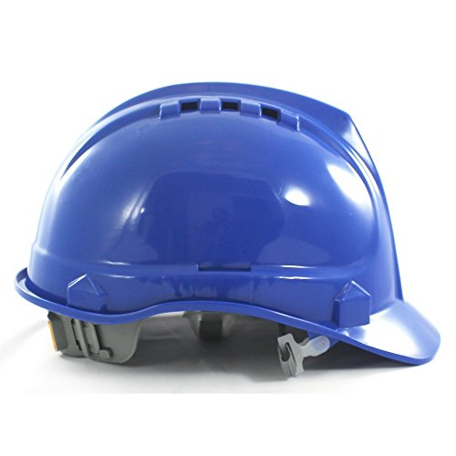 Safety Hard Hat by AMSTON- Adjustable Helmet With 'Keep Cool' Vents, Meets ANSI z89.1 Standards, Personal Protective Equipment/PPE for Construction, Home Improvement, DIY Projects (Blue)