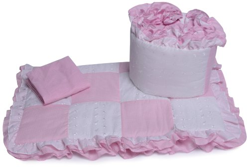 Baby-Doll-Bedding-Gingham-Cradle-Bedding-Set-Pink