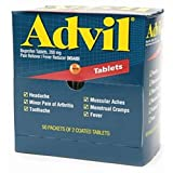 Advil Ibuprofen 200mg (50 Packets of 2 Coated Tablets) 50 ea (Pack of 9)
