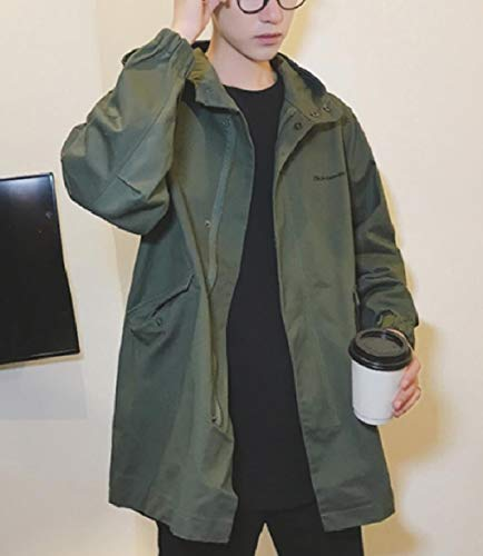 Jacket Plus Hooded Army Coat Size Zip Green Men Casual Windproof Up Howme Autumn x4nBZTq4w