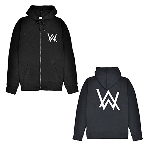 Letters-from-Iceland Alan Walker DJ Zipper Cardigan Hoodie Alan Walker Electric Sound Faded Jacket Men and Women Tide,Black,M (Sounds Walker)