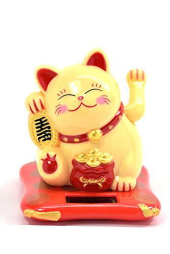 Feng Shui Maneki Neko Fortune Cat Lucky Cat Waving Arm, Solar Powered...