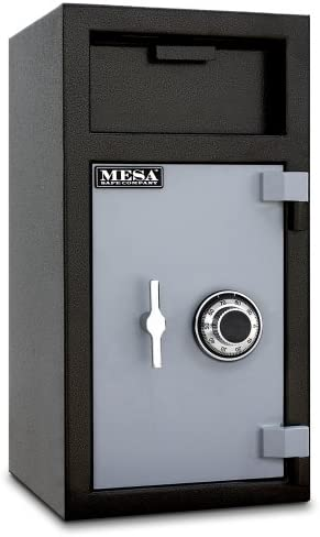 Mesa Safe MFL2714C-ILK All Steel Depository Safe with Interior Locker, Combination Lock, 1.3-Cubic Feet, Black and Grey