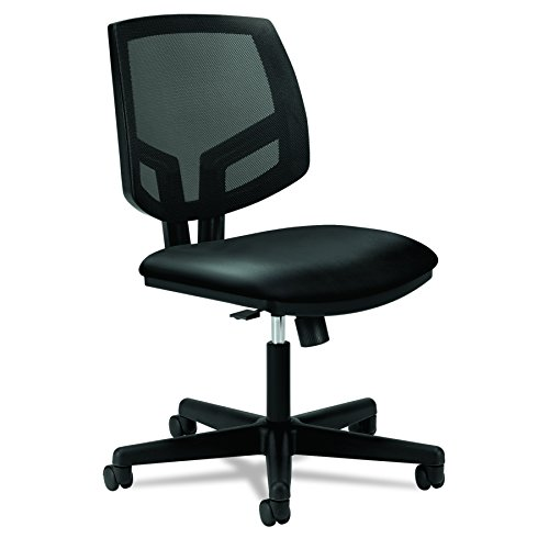 HON Volt Leather Task Chair - Mesh Back Computer Chair for Office Desk, Black (H5713) by HON