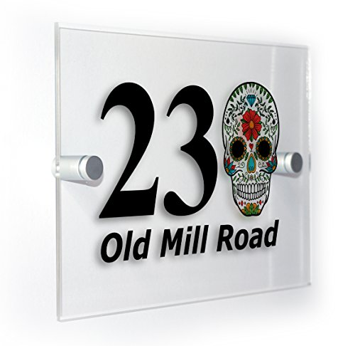 (Sugar Skull Classic Style Custom House Number Sign For Homes Flats Outdoor Plaque Suitable For All Types Of Wall Durable Colour Print)