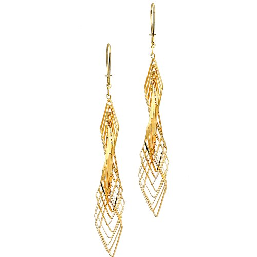 14k Yellow Gold Twisted Dangle Earrings (62 x 10 mm)