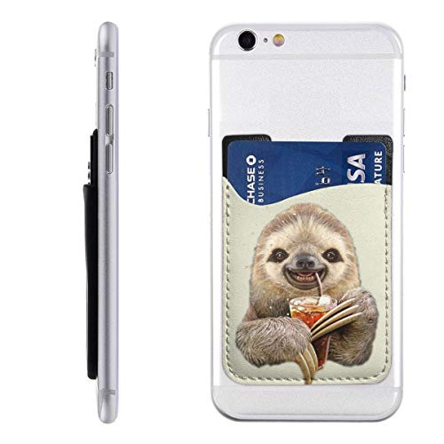 Phone Card Holder PU Leather Funny Sloth Drinking