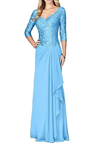 Abendkleider A Blau Brautmutterkleider Braut Langarm Elegant La Rock Marie Chiffon Linie Spitze Festlichkleider 7nwgzpXq