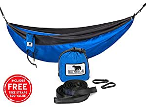 Cali Pro Gear Double Den Camping Hammock With 2 Free Bonus Adjustable Tree Friendly Nylon Straps and Steel Carabiners - Ultralight Portable Compact Parachute Nylon