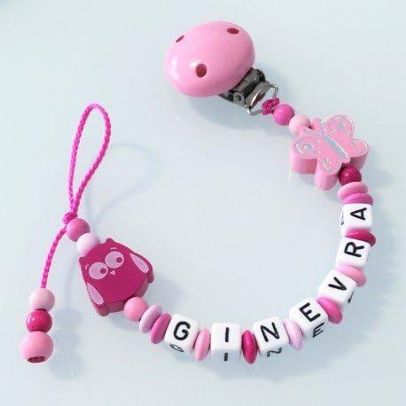 babyjart cadena para chupete con nombre personalizado, Chupete gancho mam – Acrílico, clásico transparente: Amazon.es: Bebé