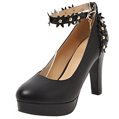 Flores 3 Dulce Zanpa Zapatos Mujer Tacon Black gavawTxq