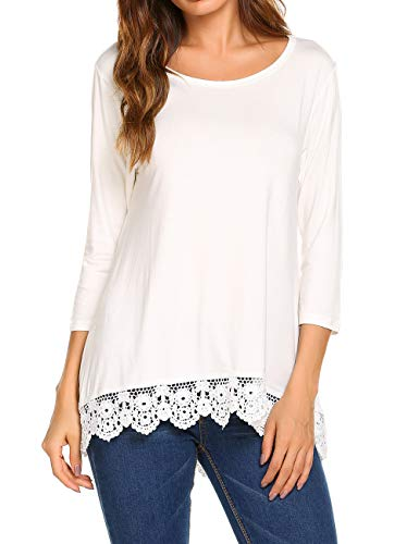 2x Xxl T-shirt - Halife Womens Tops 3/4 Sleeve Loose Casual Basic Patchwork Lace T Shirts 2X,White
