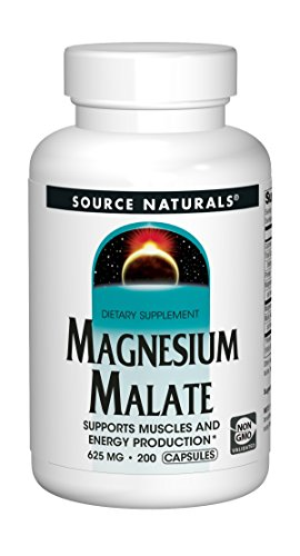 Magnesium 180 Tablets Malate - Source Naturals Magnesium Malate 625mg Supplement Essential, Bio-Available Magnesium Malic Acid Supplement - 200 Capsules