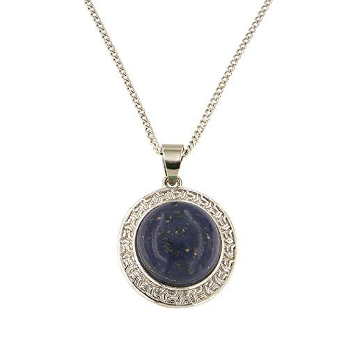 Lapis Lazuli Locket (Dyed Lapiz Lazuli Round Cabochon Brass Silver Color Finish 18