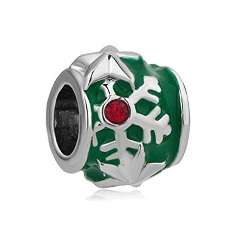 - JewelryHouse Snowflake Star Charm Green Christmas Tree Imitation Crystal Beads For Bracelet