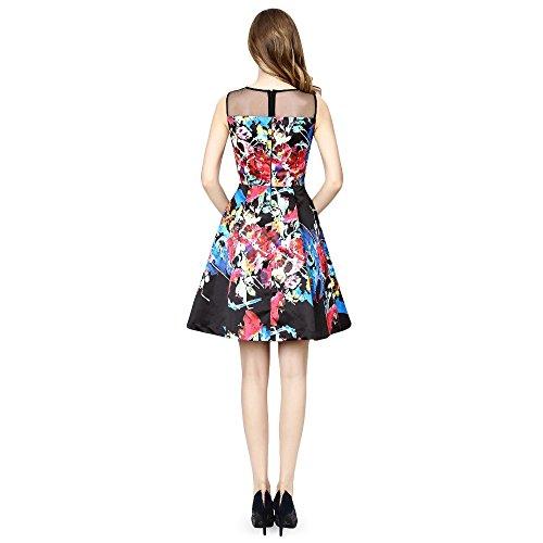 Damen Floral Kleid Flare Cocktail bestickt dezzal ärmellos Abend Schwarz und Passform H1AwwT