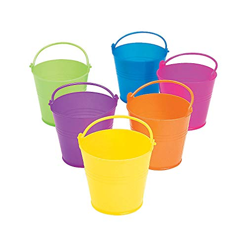 Fun Express - Mini Bright Plastic Pails - Party Supplies - Containers & Boxes - Plastic Containers - 12 Pieces