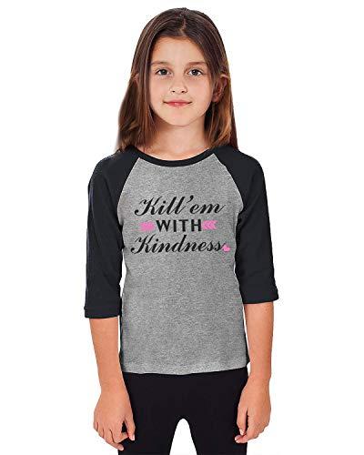 Fanient Teen Girls Boys Raglan Shirt Baseball Tops Casual 3/4 Sleeve Raglan Shirts Splice Kill'Em with Kindness Print Jersey Tee Blouse 7-8 T