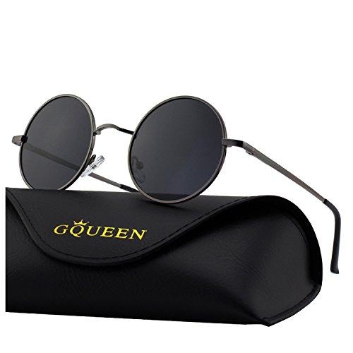 MEZ1 Classic GQUEEN Lennon Gris UV400 protección sol Gris 2 Ronda gafas de con polarizadas SxZdqvxw4