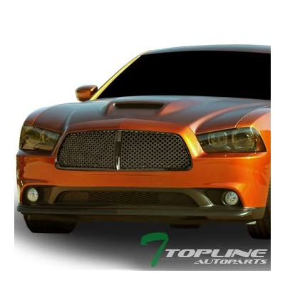 Topline Autopart Black Mesh Front Hood Bumper Grill Grille ABS For 11-14 Dodge Charger