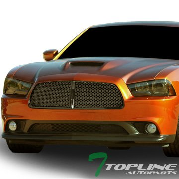 11 14 Dodge Charger Euro Black Vip Style Mesh Front Hood Bumper Grill Grille Abs
