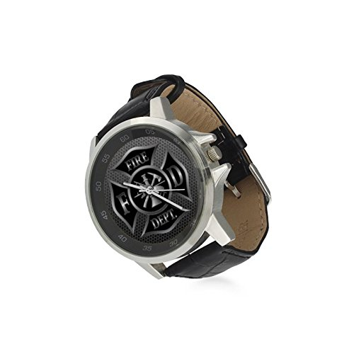 Special Design Cool Firefighter Elblem, Rescue Symbol on Iron Plate Custom Unisex Stainless Steel Leather Strap Watch Metal Case, Tempered Glass, Black Leather Band