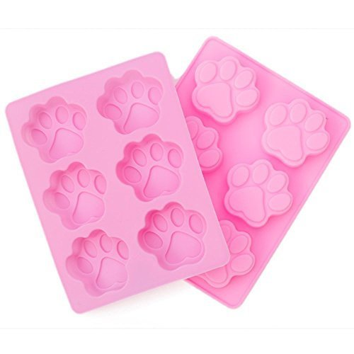 KAIL Silicone 2 Pack-6 Cavity DOG Pet Animal Paw Shape Print Ice Cube Chocolate Soap Candle Tray Cake Mold For Party