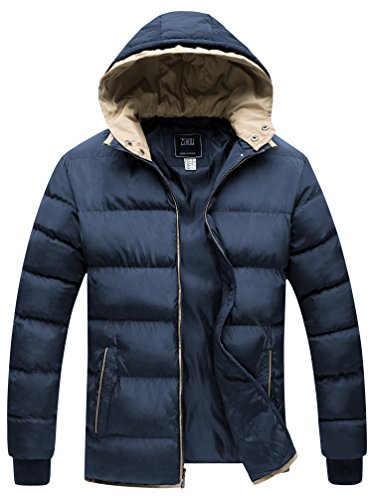 ZSHOW Men's Winter Double Hooded Thicken Quilted Cotton Jacket(Navy