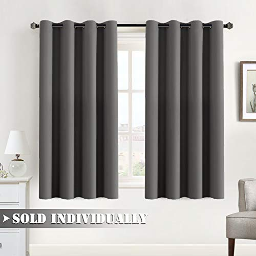 Flamingo P Blackout Gray Curtains for Bedroom Living Room Noise Reducing Thermal Insulated Window Drapes Grommet Top Blackout Curtain Draperies Soft and Thick, 52 x 63, Mid Gray (Philadelphia Eagles Curtains)