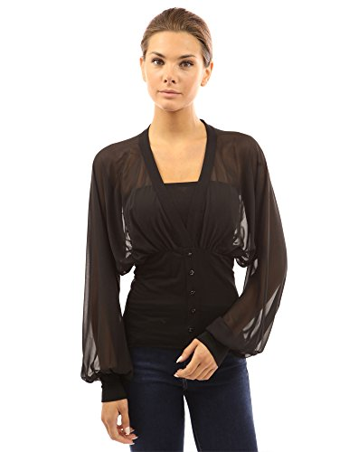 PattyBoutik-Womens-Chiffon-Long-Sleeve-Fitted-Waist-Pullover-Blouse