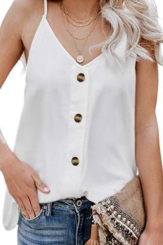 Angerella Women's Summer Button Down V Neck Strappy Tank Tops Loose Casual Sleeveless Shirts Blouses - Shirt White Blouse