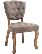 CLP Krzesło do jadalni Elysa materiał I krzesło tapicerowane pikowane wzór Chesterfield I krzesło z oparciem z ramą z drewna kauczukowego I maks. obciążenie 120 kg, kolor: taupe, stelaż: antyczny jasny