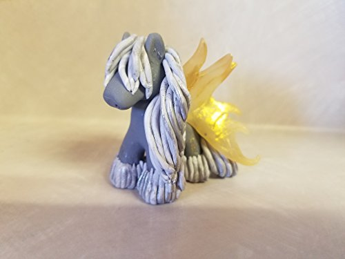 WINGED HORSE FIGURINE Whimsical Gypsy Vanner Horse With WINGS Miniature Figurine Christmas Ornament GRAY Hand Sculpted OOAK Polymer Clay ()