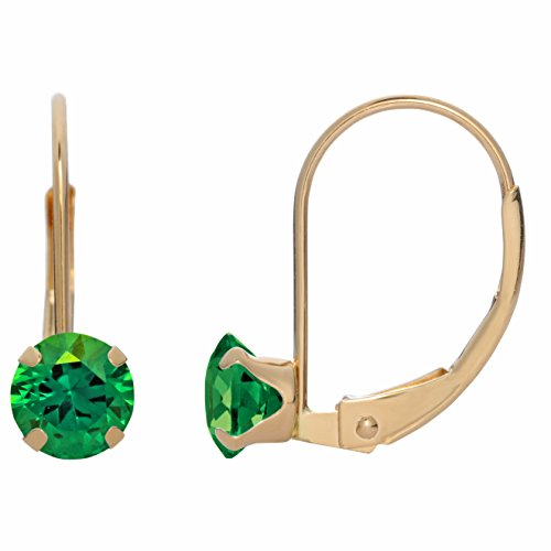 5MM Round Natural Emerald 10K Yellow Gold Leverback Earrings ()