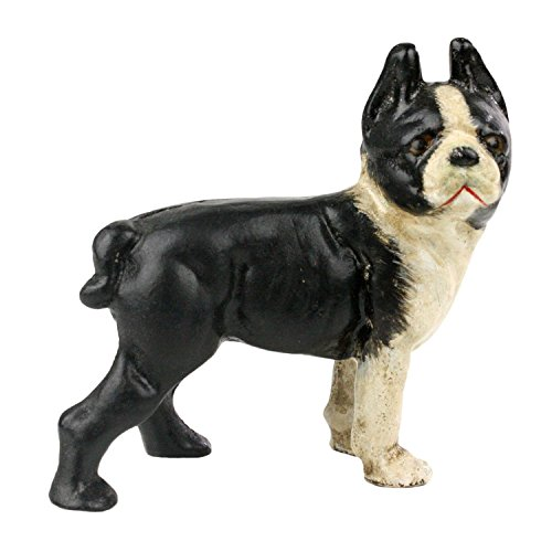 Retro Cast Iron Boston Terrier Statue | Bulldog Doorstop Antique Style