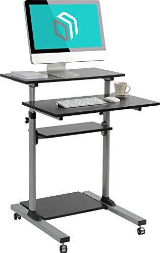 ONKRON Mobile Stand Up Desk Height Adjustable Computer Workstation Rolling Sit Stand Desk Cart with Keyboard Tray Presentation Cart W1R Silver -
