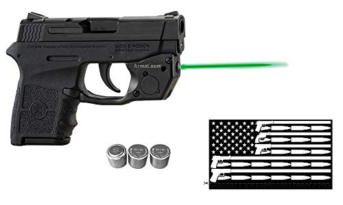 ArmaLaser Deluxe Laser Combo for S&W Smith-Wesson M&P Bodyguard 380 w/Touch-Activated TR24-G Green Laser Sight, Guns & Ammo Bumper Sticker & 2 Extra Batteries (Smith And Wesson Bodyguard 380 Laser Battery Size)
